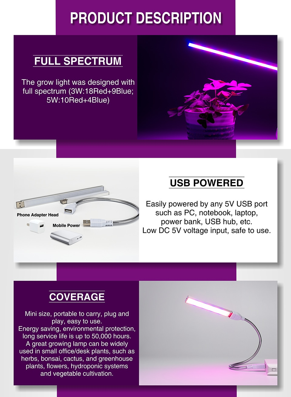 LED USB Grow Lamp Full Spectrum DC 5V 3W 5W Suitable Home Office Indoor Young Plants Imitating Sunlight IR UV Growing Phyto Lamp