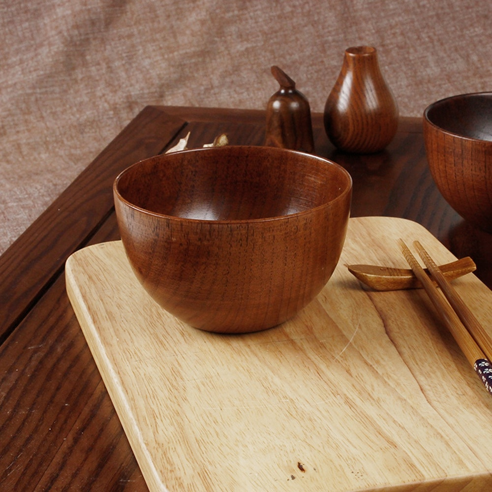 Japanese Style Wooden Bowl Natural Wood Bowl Tableware for Fruit Salad Noodle Rice Soup Kitchen Utensil Dishes Handmade Crafts